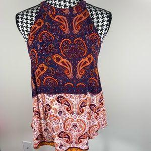 Sophie Rue Blue Orange Boho Sleeveless Top Size L